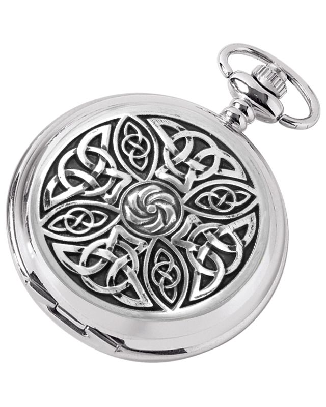 Celtic Pocket watch | Chrome Pocket Watches | London Silver Company | Quartz Pocket Watch